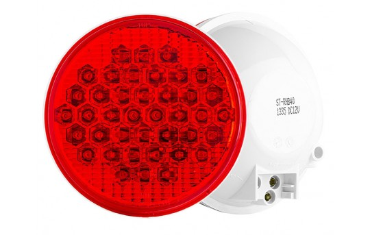 "Round LED Truck and Trailer Lights w/ Reflector - 4"" LED Brake/Turn/Tail Lights - 3-Pin Connector - Flush Mount - 40 LEDs - ST-xHB40"
