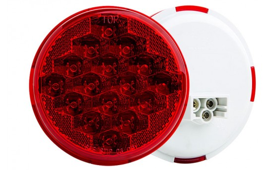 "Round LED Truck and Trailer Lights w/ Built-In Reflector - 4"" LED Brake/Turn/Tail Lights - 3-Pin Connector - Flush Mount - 16 LEDs - STR-x16"