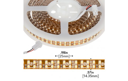 3528 Single-Color LED Strip Light - Dual Row LED Tape Light w/ Plug-and-Play LC2 Connector - 24V - IP20 - 475 lm/ft - 2NFLS-x1200-24V-LC2