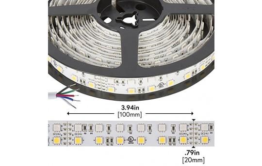 RGBW LED Strip Lights - Dual Row 24V LED Tape Light w/ White and Multicolor LEDs - 530 Lumens/ft. - 2NFLS-RGBx-xX3-24V