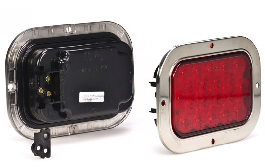 "Rectangle LED Truck and Trailer Lights w/ Built-In Stainless Steel Flange - 6"" LED Brake/Turn/Tail Lights - 3-Pin Connector - Flush Mount - 20 LEDs - RTSS-xHB20"