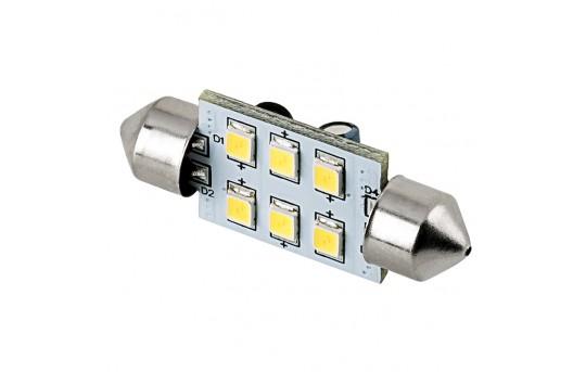 3710 LED Boat and RV Light Bulb - 6 SMD LED Festoon - 38mm - 105 Lumens - 3710-xHP6-V2-RVB