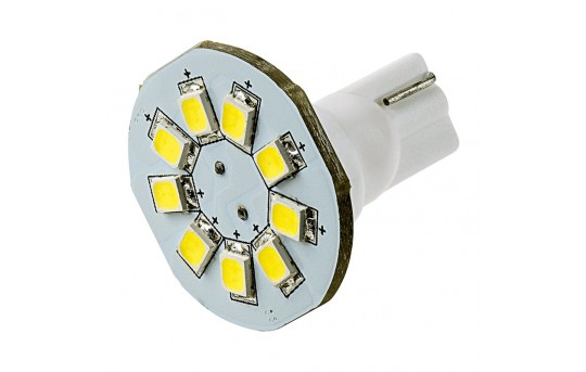 921 LED Boat and RV Light Bulb - 9 SMD LED Disc - Miniature Wedge Retrofit - 130 Lumens - 921B-xHP9-DAC-RVB