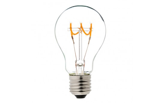 Flexible Filament LED Bulb - A19 Carbon Filament Style Bulb - Dimmable 10 Watt Equivalent - Spiral Horizontal Loop - 60 Lumens - A19D-UW4DFQ