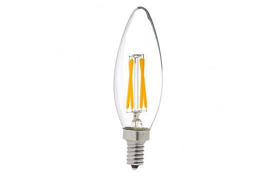 B10 LED Filament Bulb - 40 Watt Equivalent LED Candelabra Bulb w/ Blunt Tip - Dimmable - 350 Lumens - B10D-x4DF-E12