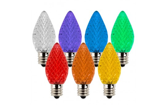 C7 LED Bulbs - Diamond Faceted Replacement Christmas Light Bulbs - 5 Lumens - C7-xF