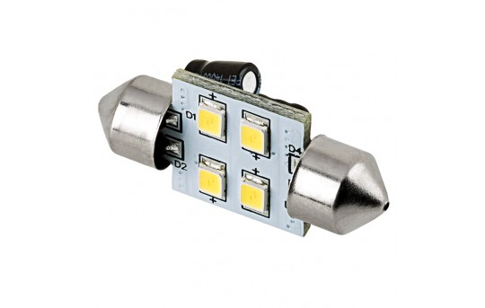 DE3175 LED Bulb - 4 SMD LED Festoon - 30mm - 3022-xHP4-V2-CAR