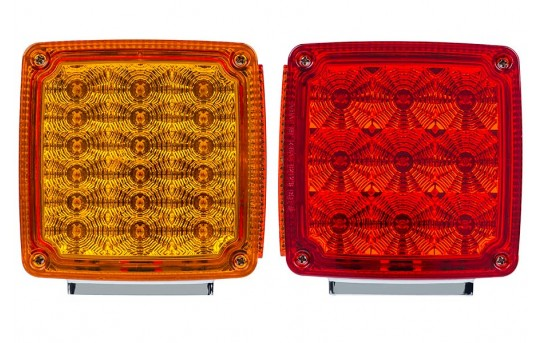"""Square LED Pedestal Double-Faced Truck and Trailer Lights - 4-1/4"""" Clearance Lights - Pigtail Connector - Stud Mount - 30 LEDs - TLS-R9A18"""