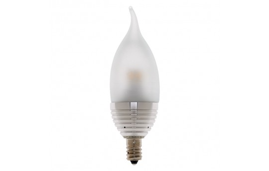 CA10 LED Decorative Bulb - 25 Watt Equivalent Candelabra LED Bulb w/ Bent Tip - Dimmable - 240 Lumens - E12-x3W-DF