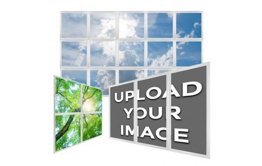 Multi LED Panel Light Display - Custom Image and Configuration - Even-Glow® Panel Light Fixtures w/ SkyLenses® - Drop Ceiling Recessed Mount - EG-CP-CxJBK
