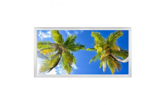 LED Skylight w/ Palm Trees Skylens® - 2x4 Dimmable LED Panel Light - Flush Mount/Drop Ceiling Recessed Mount - EGD-T2-x24