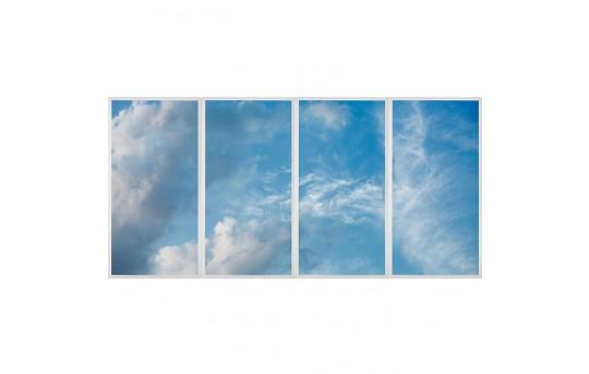 Multi LED Skylight Display w/ SkyLenses® - 2x4 Dimmable LED Panel Lights - Drop Ceiling Recessed Mount - EGD2-x-x24-72-Mx