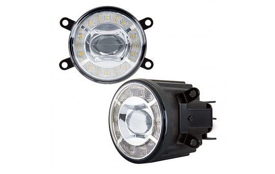 "3-1/2"" LED Projector Fog Lights Conversion Kit w/ Halo Daytime Running Lights - Toyota/Nissan - 500 Lumens - FDC-x15W-MB1"