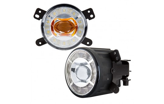 "3-1/2"" LED Projector Fog Lights Conversion Kit w/ Halo Daytime Running Lights - Chrysler/Jeep/Dodge - 500 Lumens - FDC-x15W-MB2"