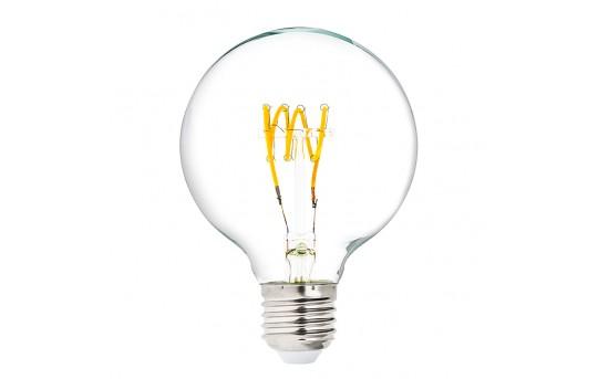 Flexible Filament LED Bulb - G25 Carbon Filament Style Bulb - 25 Watt Equivalent - Spiral Quad Loop - Dimmable - 236 Lumens - G25D-x4DFQ