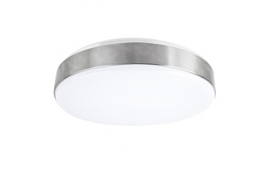 "15"" Flush Mount LED Ceiling Light w/ Brushed Nickel Housing - 100 Watt Equivalent Low Profile Ceiling Light - Dimmable - 1,500 Lumens - CLD15-x22N"