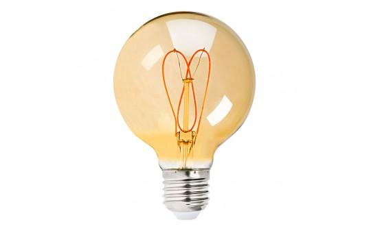 Flexible Filament LED Bulb - G25 Carbon Filament Style Bulb w/ Gold Tint - 20 Watt Equivalent - Heart - Dimmable - 195 Lumens - G25D-x4GFW