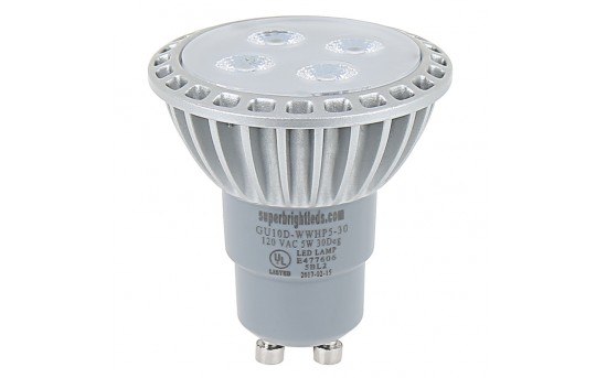 GU10 LED Bulb - 40 Watt Equivalent - Bi-Pin LED Spotlight Bulb - 312 Lumens - GU10D-xHP5-30