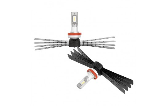 H11 LED Headlight Conversion Kit with Aluminum Finned Heat Sinks - 6,000 Lumens/Set - H11-HLV6
