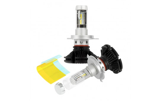 H4 LED Fanless Headlight Conversion Kit with Adjustable Color Temperature and Compact Heat Sink - 5,000 Lumens/Set - H4-HLV5