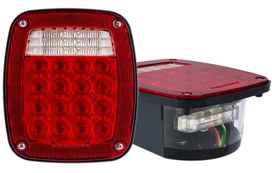 Multi-Function LED Truck Trailer Lights Combo Box w/ License Plate Light - Universal Mount LED Brake/Turn/Tail Lights - Pigtail Connector - Stud Mount - LBL-R16W18-LP