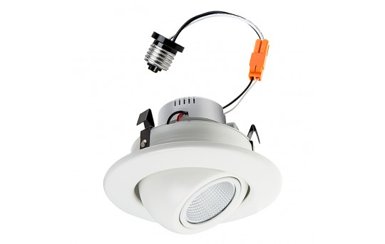 "LED Recessed Lighting Kit for 4"" Cans - Retrofit LED Downlight w/ Eyeball Trim - 60 Watt Equivalent - Dimmable - 750 Lumens - DL4DG-xW10-38"