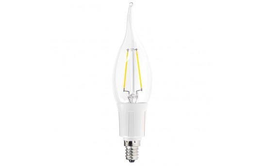 CA10 LED Filament Bulb - 20 Watt Equivalent Candelabra LED Bulb w/ Bent Tip - CA10-WW2DF-E12