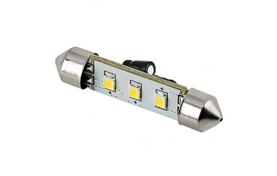6451 LED Boat and RV Light Bulb - 3 SMD LED Festoon - 42mm - 45 Lumens - 4210-xWHP3-V2-RVB