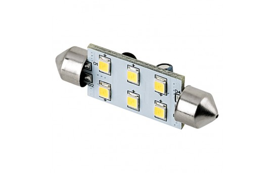 6451 LED Boat and RV Light Bulb - 6 SMD LED Festoon - 42mm - 93 Lumens - 4210-xWHP6-V2-RVB