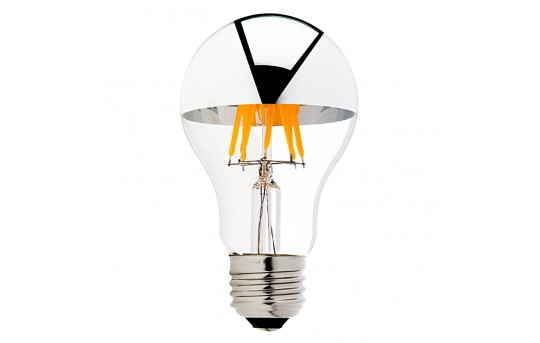 A19 LED Bulb - Silver Tipped LED Filament Bulb - 40 Watt Equivalent - Dimmable - 490 Lumens - A19D-x6MDF