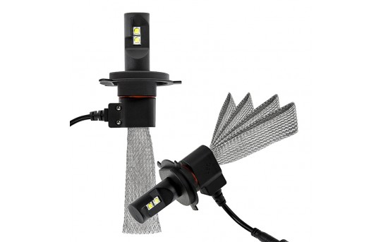 Open Box LED Headlight Kit - H4 LED Headlight Bulbs Conversion Kit with Flexible Tinned Copper Braid - H4-HLV3-OB