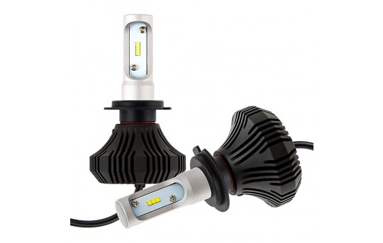 H7 LED Fanless Headlight Conversion Kit with Compact Heat Sink - 4,000 Lumens/Set - H7-HLV4