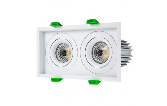 LED Recessed Light Engines w/ Dual Square 98mm Aimable Trim - 75 Watt Equivalent - RLFM-x12W-x-D98S