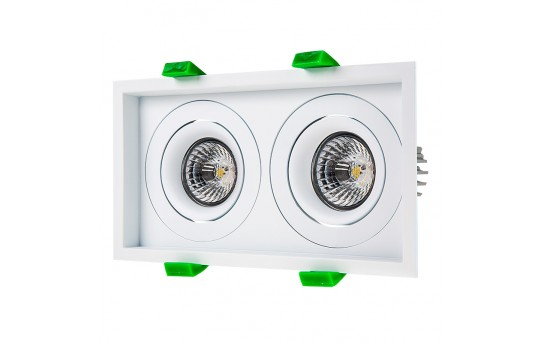 LED Recessed Light Engines w/ Dual Square 98mm Aimable Trim - 70 Watt Equivalent - RLFM-x8W-x-D98S