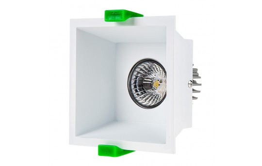 LED Recessed Light Engine w/ Square 90mm White Reflector - 60 Watt Equivalent - RLFM-x8W-x-90SD