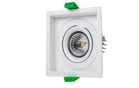 LED Recessed Light Engine w/ Square 98mm Aimable Trim - 60 Watt Equivalent - RLFM-x8W-x-98S