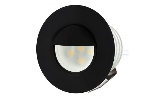 LED Step Lights - Black 40mm Metal Trim with Hood Mini Round Deck / Step Accent Light - 0.5 Watt - MRLF-6xW-HTB