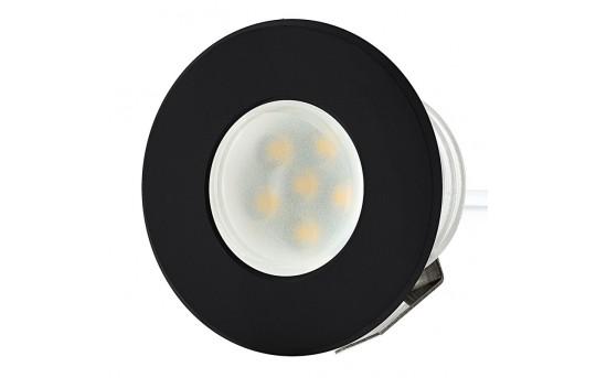 LED Step Lights - Black 40mm Metal Trimmed Mini Round Deck / Step Accent Light - 0.5 Watt - MRLF-6xW-MTB