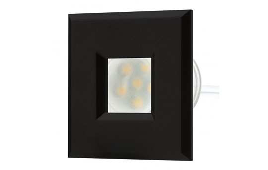 LED Step Lights - Black 40mm Plastic Square Trimmed Mini Round Deck / Step Accent Light - 0.5 Watt - MRLF-6xW-STB