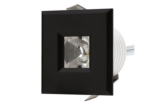 LED Step Lights - Black 40mm Plastic Square Trimmed Mini Round Deck / Step Accent Light - 1 Watt - MRLF-1xW-STB