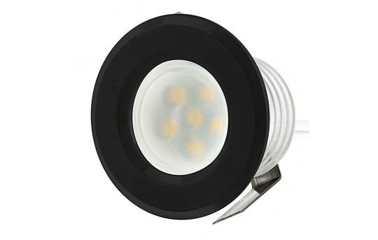 LED Step Lights - Black 40mm Plactic Trimmed Mini Round Deck / Step Accent Light - 0.5 Watt - MRLF-6xW-RTB