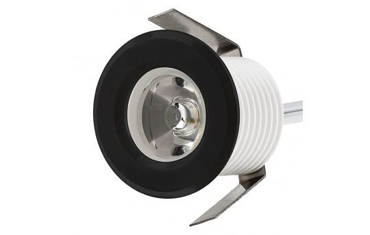 LED Step Lights - Black 40mm Plastic Trimmed Mini Round Deck / Step Accent Light - 1 Watt - MRLF-1xW-RTB