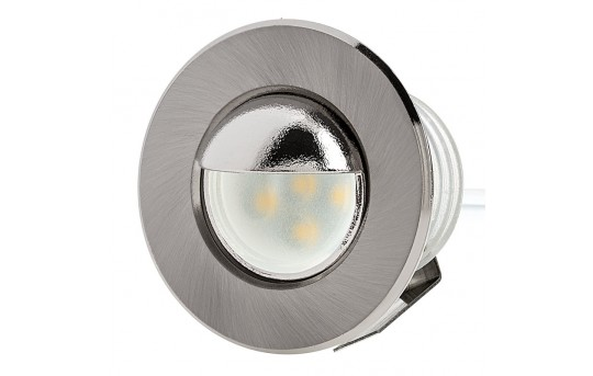 LED Step Lights - Brushed Nickel 40mm Metal Trim with Hood Mini Round Deck / Step Accent Light - 0.5 Watt - MRLF-6xW-HTN