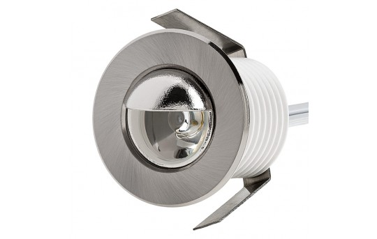 LED Step Lights - Brushed Nickel 40mm Metal Trim with Hood Mini Round Deck / Step Accent Light - 1 Watt - MRLF-1xW-HTN