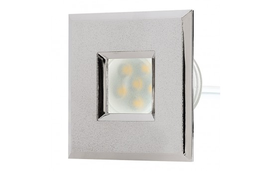 LED Step Lights - Brushed Nickel 40mm Plastic Square Trimmed Mini Round Deck / Step Accent Light - 0.5 Watt - MRLF-6xW-STN