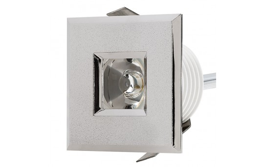 LED Step Lights - Brushed Nickel 40mm Plastic Square Trimmed Mini Round Deck / Step Accent Light - 1 Watt - MRLF-1xW-STN