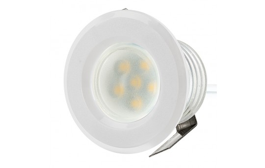 LED Step Lights - White 40mm Plastic Trimmed Mini Round Deck / Step Accent Light - 0.5 Watt - MRLF-6xW-RTW