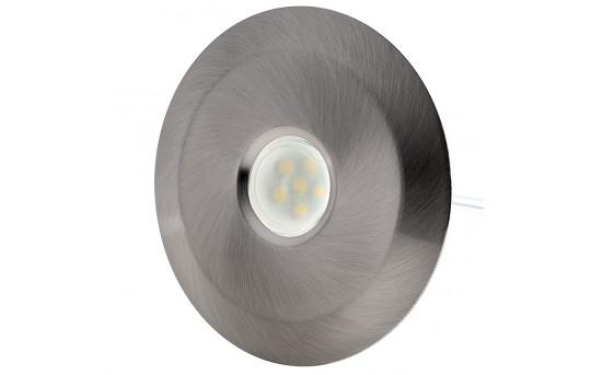 LED Step Lights - Brushed Nickel 70mm Metal Trimmed Mini Round Deck / Step Accent Light - 0.5 Watt - MRLF-6xW-BTN