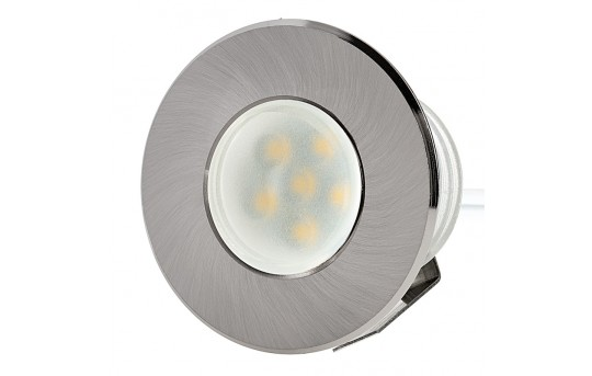 LED Step Lights - Brushed Nickel 40mm Metal Trimmed Mini Round Deck / Step Accent Light - 0.5 Watt - MRLF-6xW-MTN