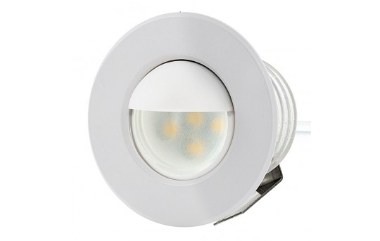 LED Step Lights - White 40mm Metal Trim with Opaque Hood Mini Round Deck / Step Accent Light - 0.5 Watt - MRLF-6xW-HTW2